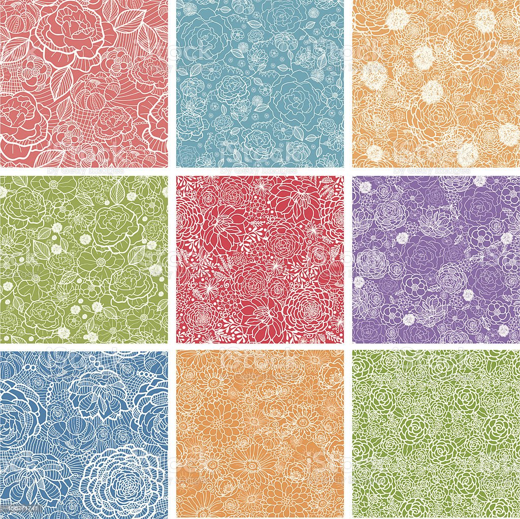 Nine Lace Floral Seamless Patterns Set royalty-free stock vector art