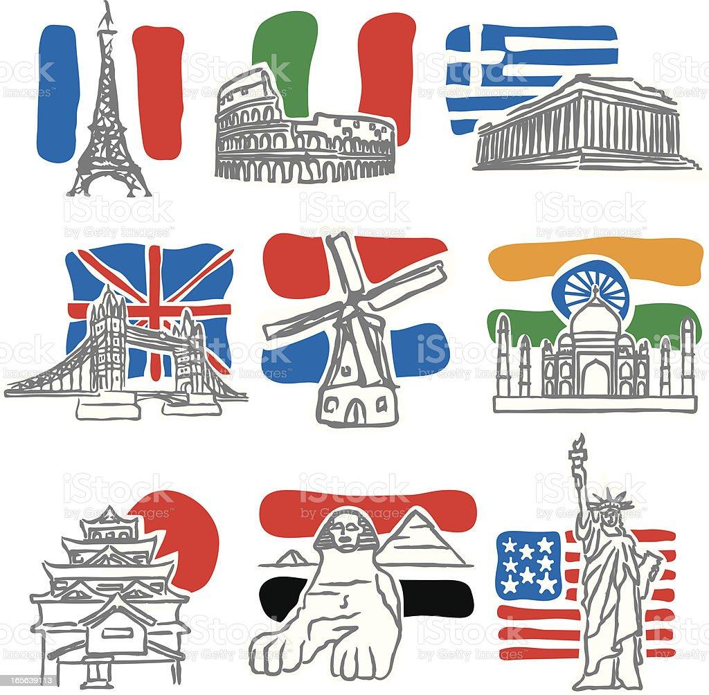 Nine Landmarks royalty-free stock vector art