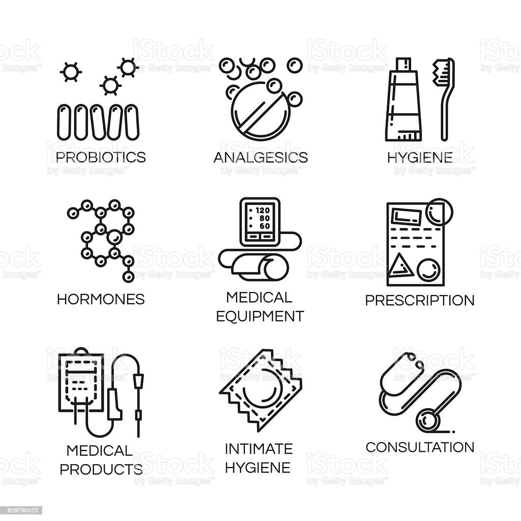Nine medical and health care icons in outline style vector art illustration