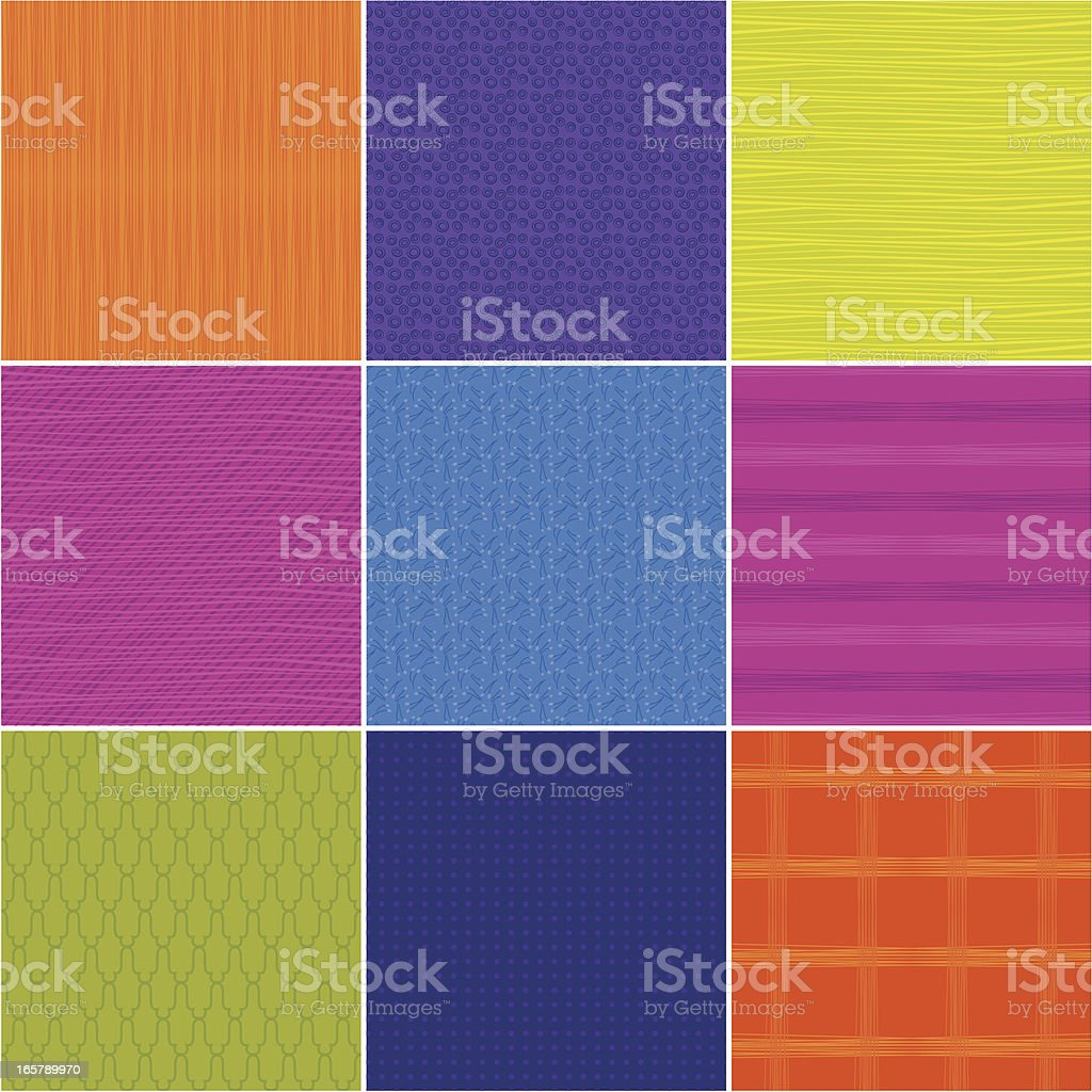 Nine multicolored squares with elegant seamless patterns royalty-free stock vector art