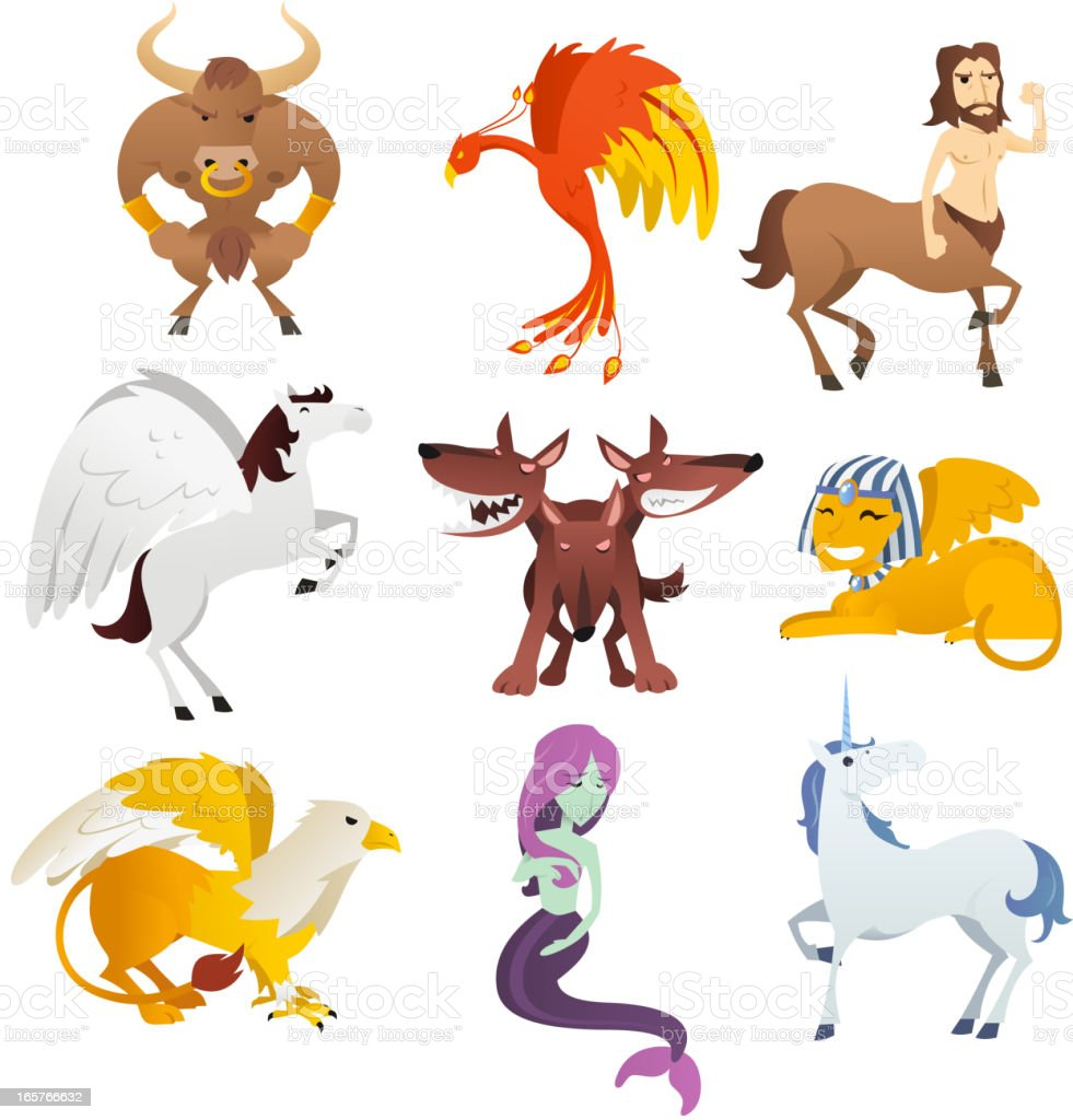 Nine Mythological and mythical Creatures vector art illustration
