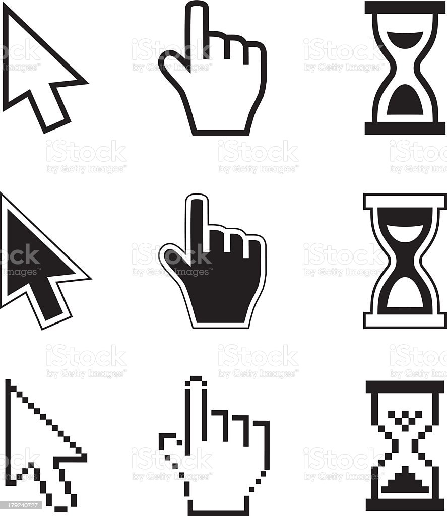 Nine pixelated icons for cursors and hourglasses vector art illustration