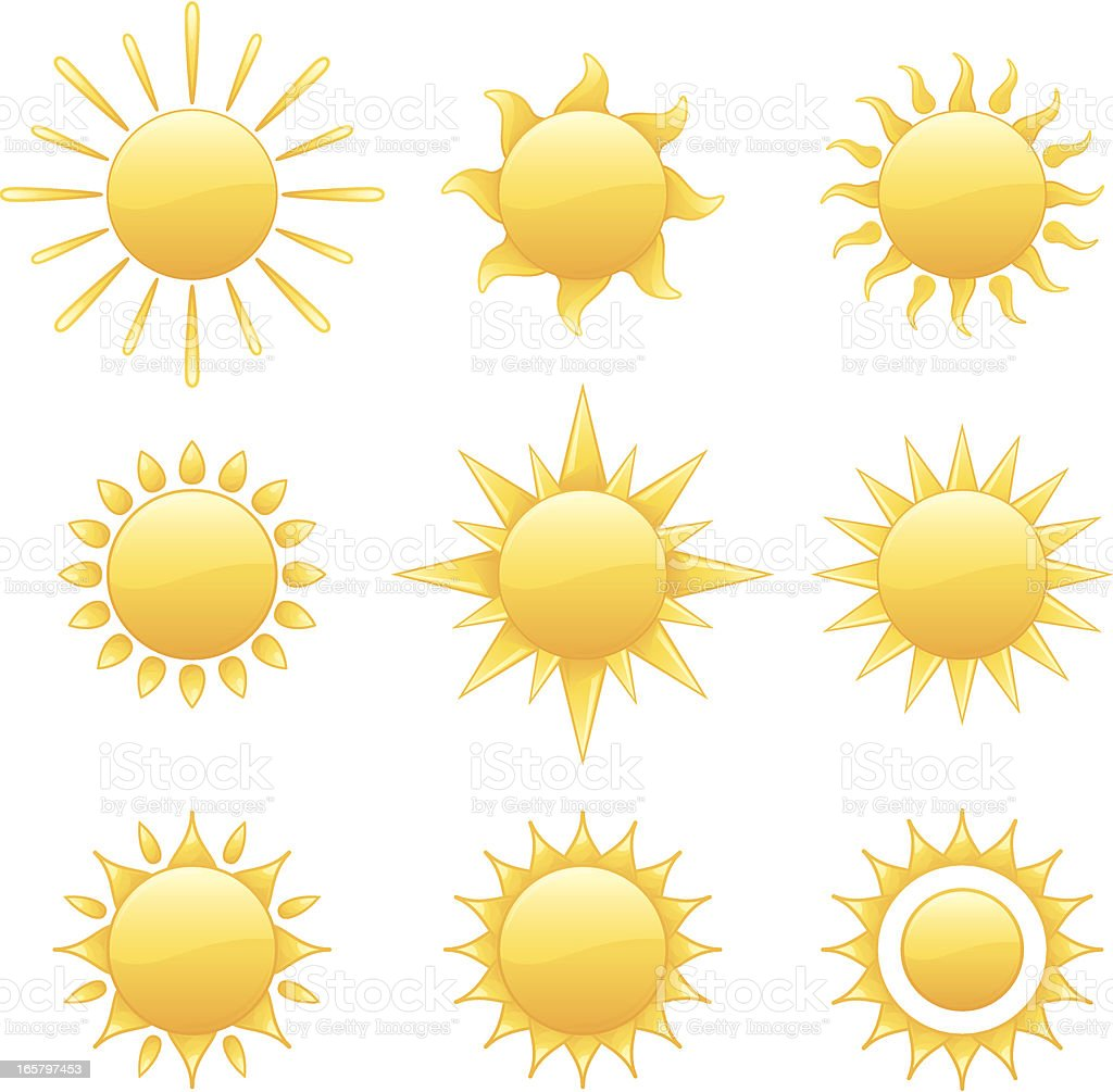 Nine Radiant Yellow Summer Sun Collection Assortment Vector Illustration royalty-free stock vector art