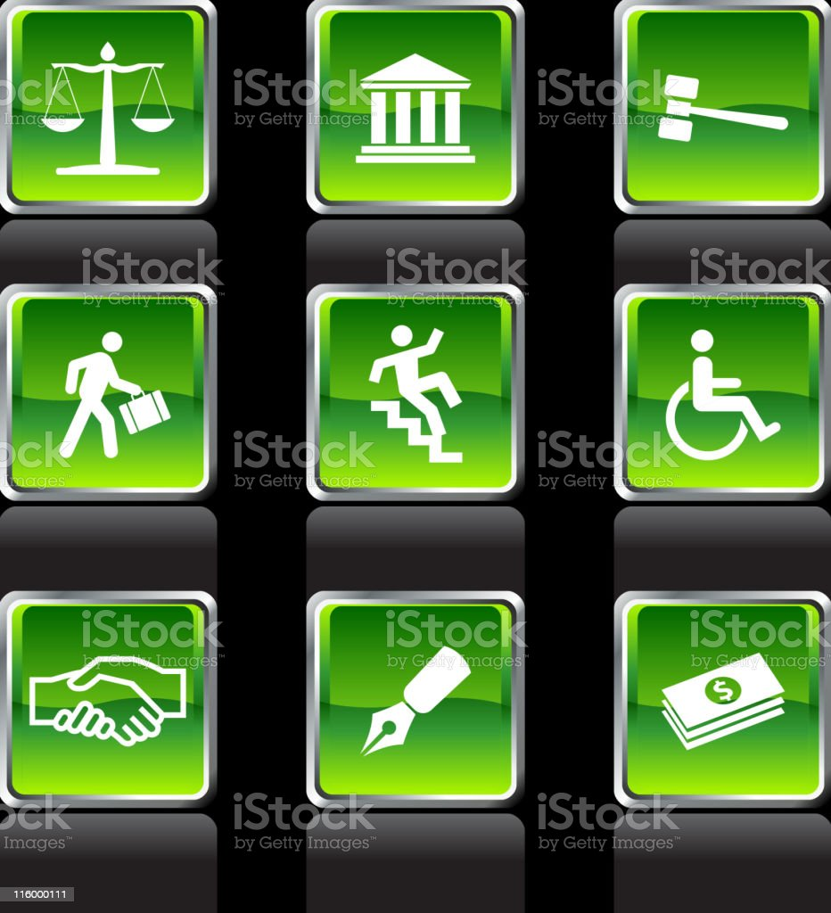 Nine royalty free vector art legal system set royalty-free stock vector art