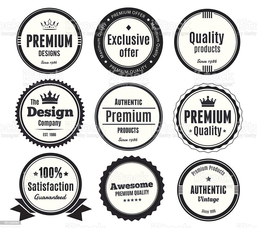 Nine Scalable Vintage Badges vector art illustration