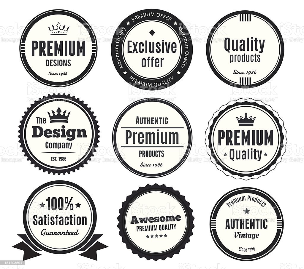 Nine Scalable Vintage Badges vector art illustration