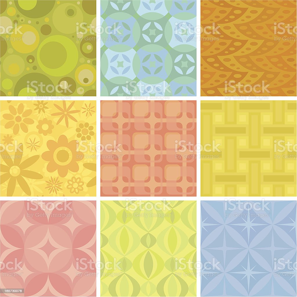 Nine seamless retro patterns vector art illustration