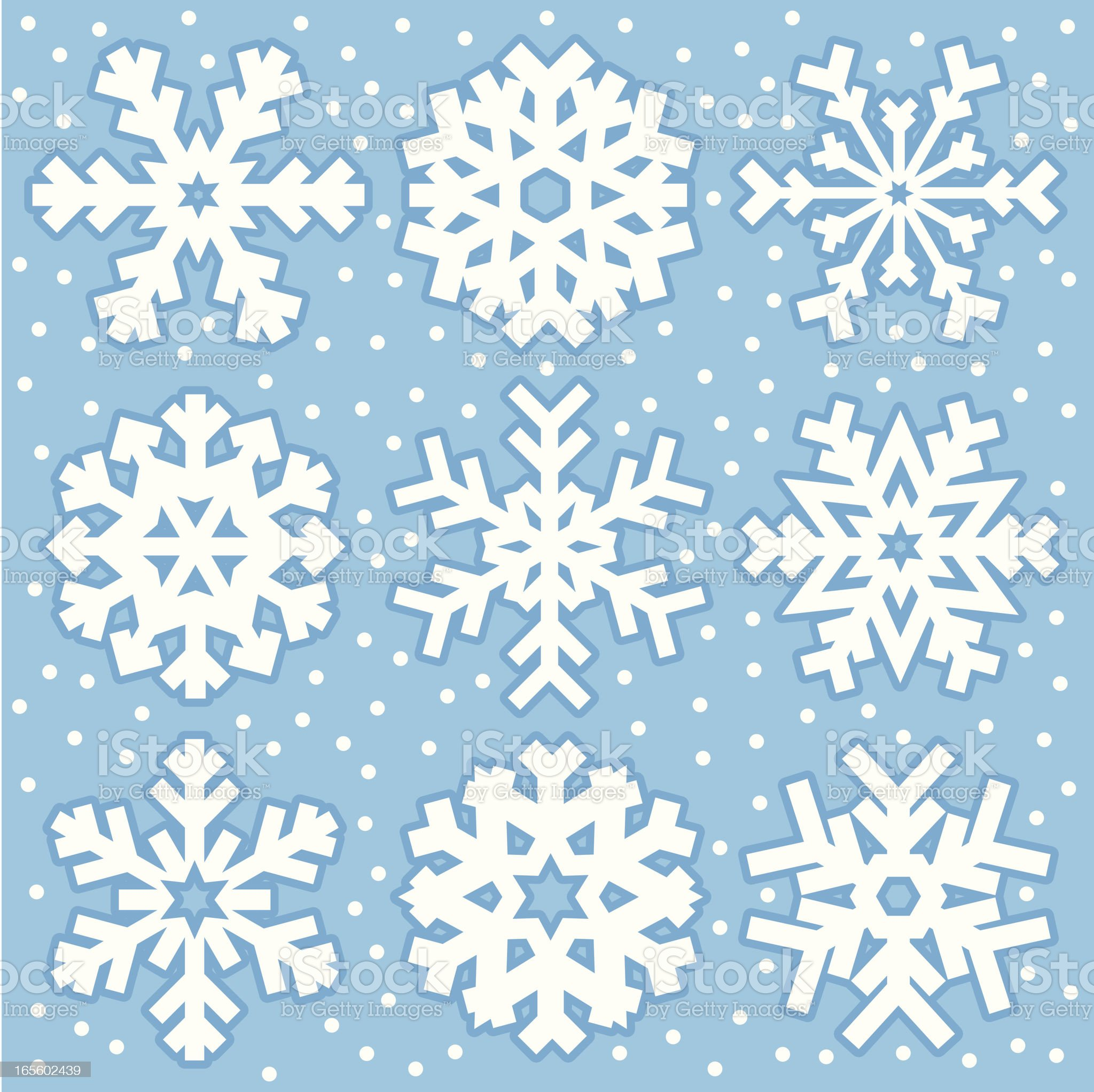 Nine snowflakes royalty-free stock vector art