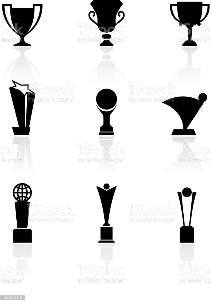 Nine Sports Trophies Black and White royalty free vector Set vector art illustration