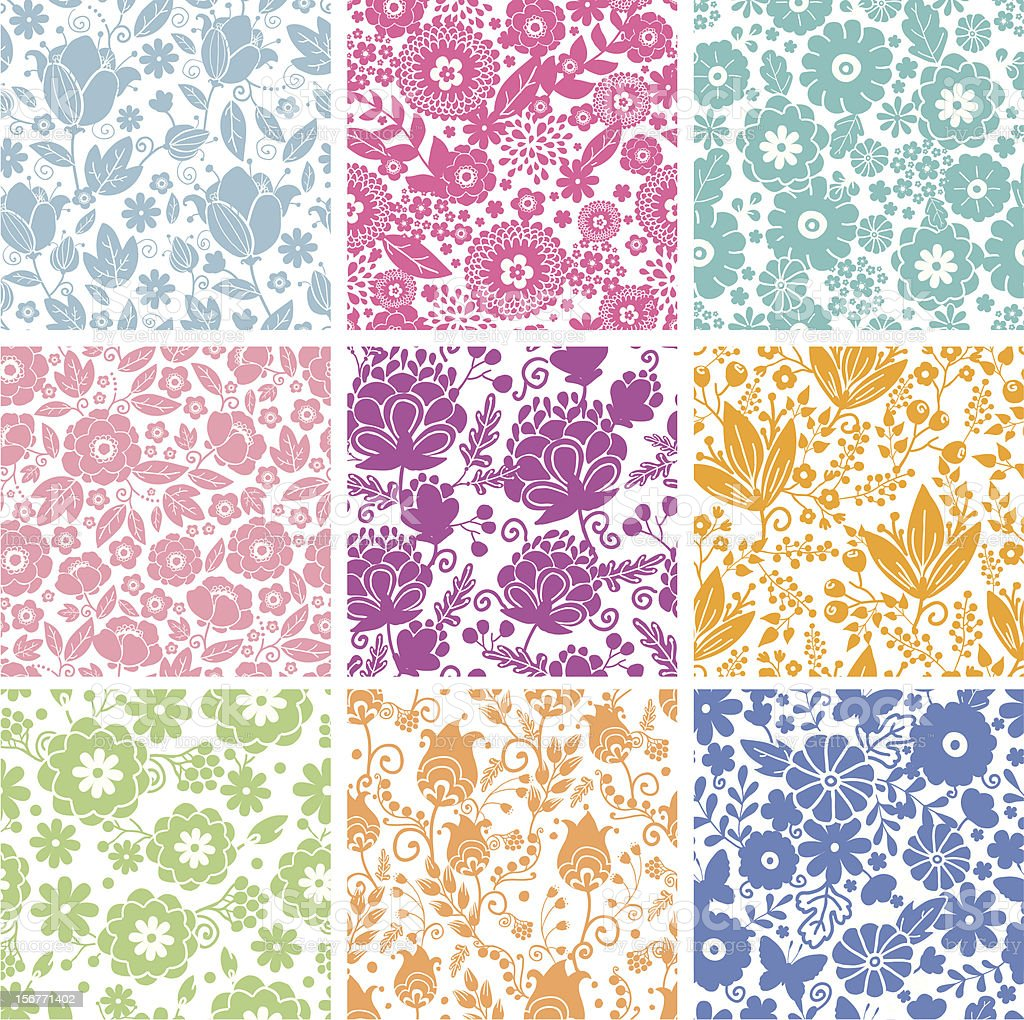 Nine Spring Flowers Seamless Patterns Set royalty-free stock vector art
