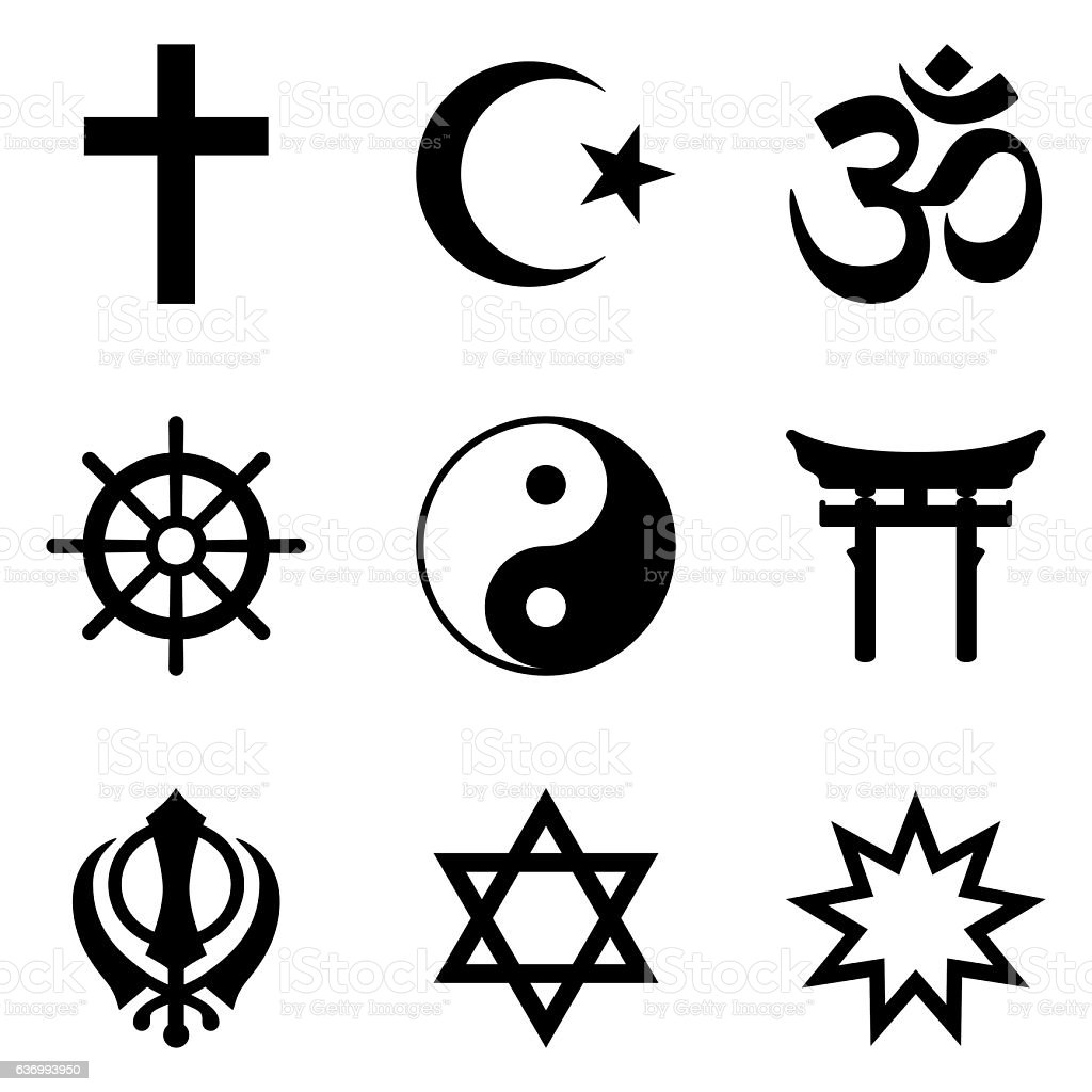 Nine symbols of World religions and major religious groups vector art illustration