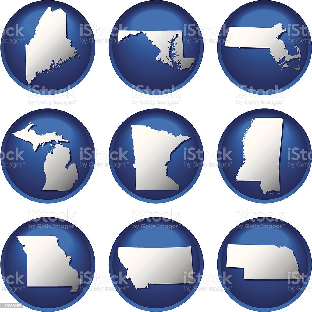 Nine United States Buttons royalty-free stock vector art