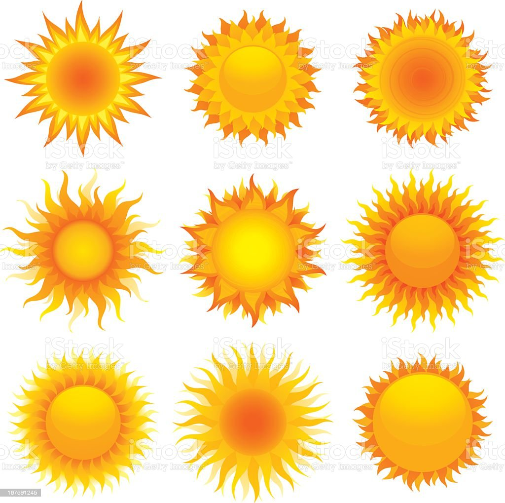 Nine vector designs of the sun royalty-free stock vector art