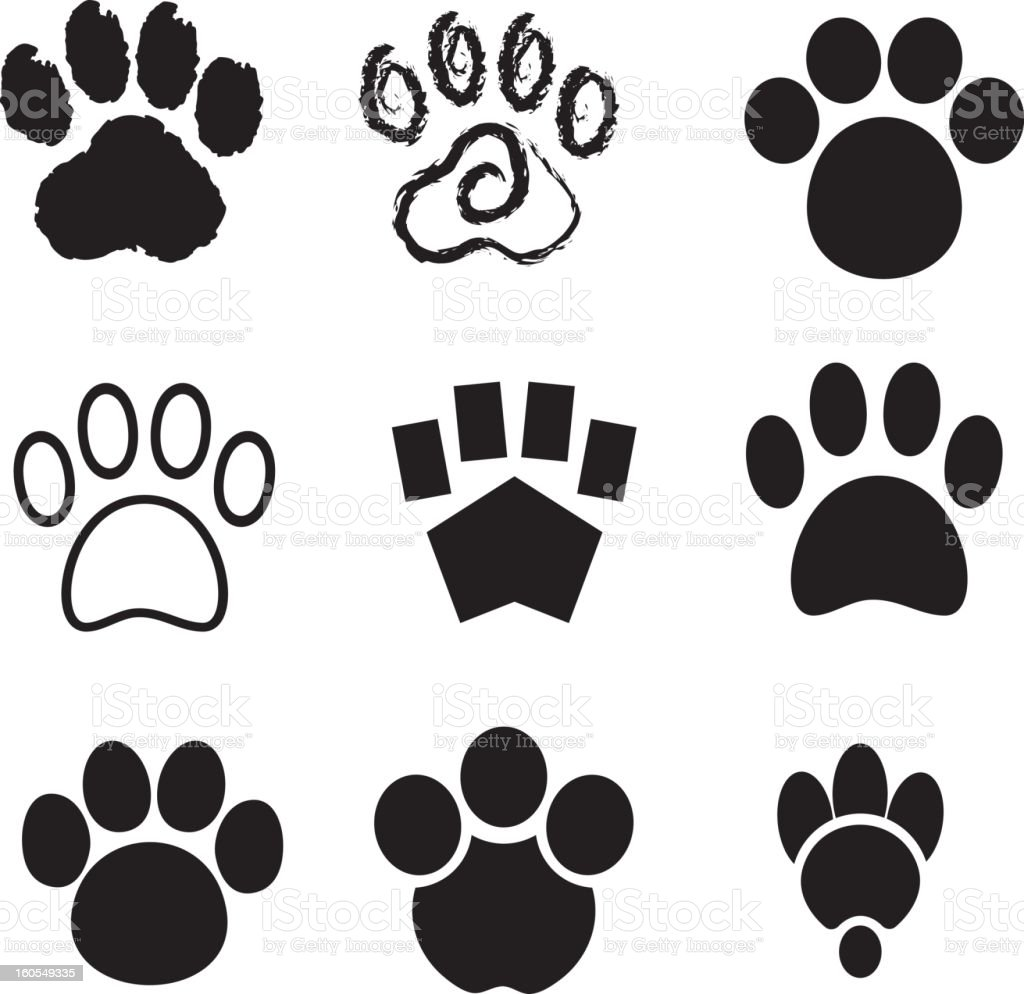 Nine Vector Stylized Paw Prints vector art illustration