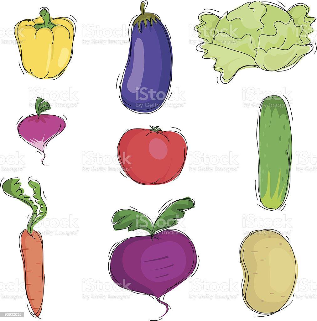 Nine vegetable icons royalty-free stock vector art