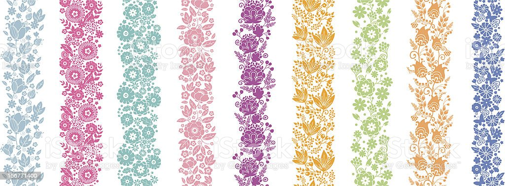 Nine Vertical Spring Flowers Seamless Borders Set royalty-free stock vector art