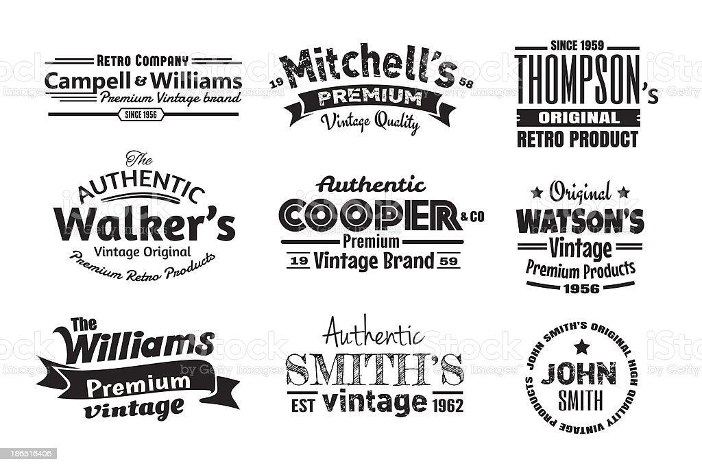 Nine Vintage Insignias vector art illustration