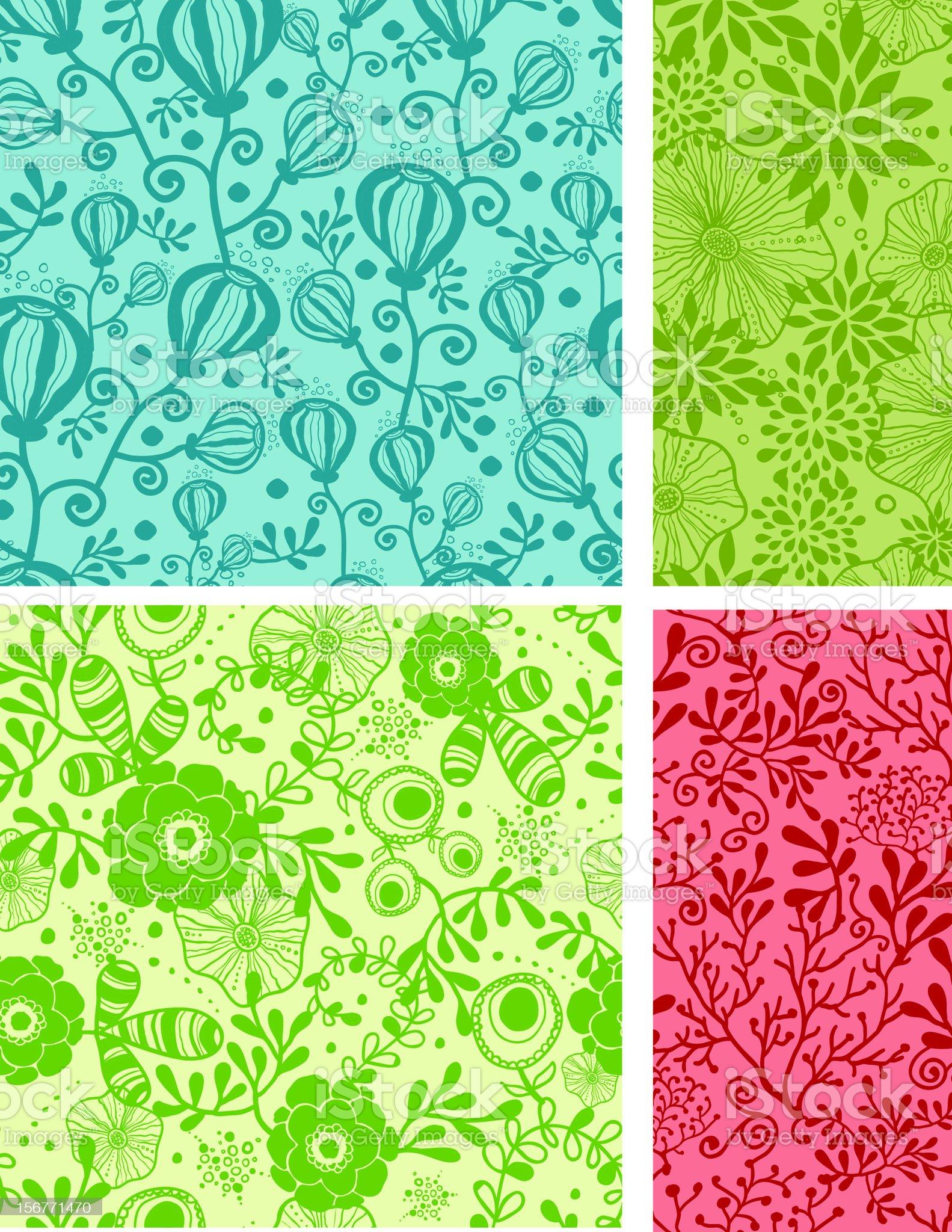 Nine Whimsical Flowers Seamless Patterns Set royalty-free stock vector art