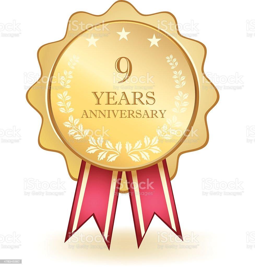 Nine Year Anniversary Medal stock vector art 478345382