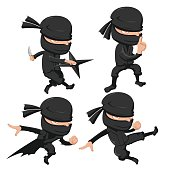 Ninja Cute Character Cartoon Set Vector