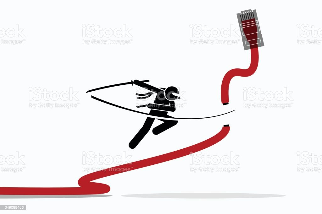 Ninja cuts Ethernet LAN network cable. vector art illustration