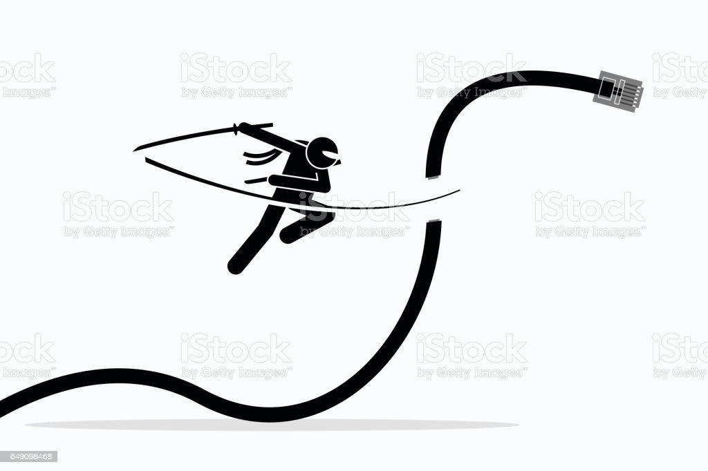 Ninja cuts telephone cable. vector art illustration