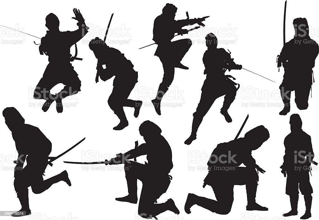 Ninja in various actions vector art illustration
