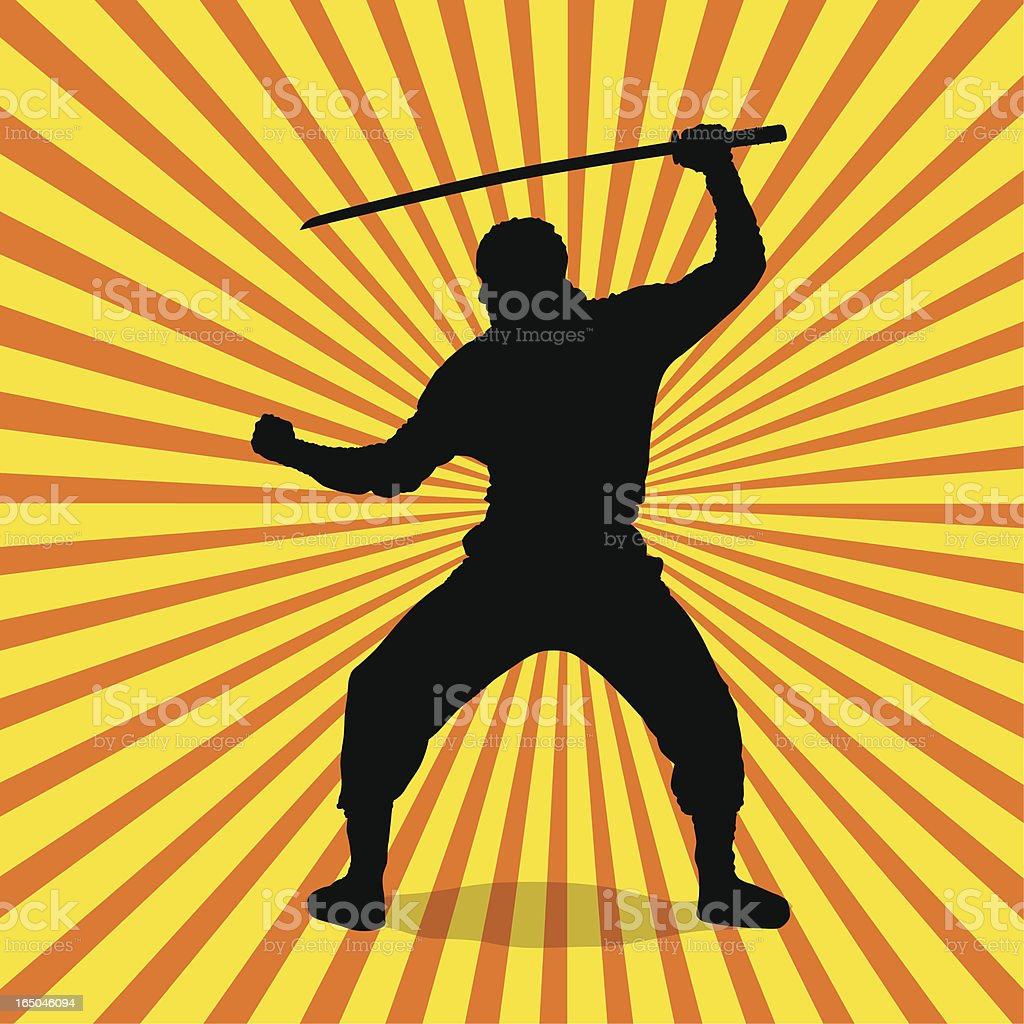 Ninja Silhouette vector art illustration