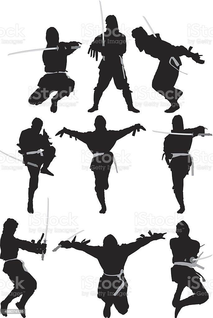 Ninja warrior vector art illustration