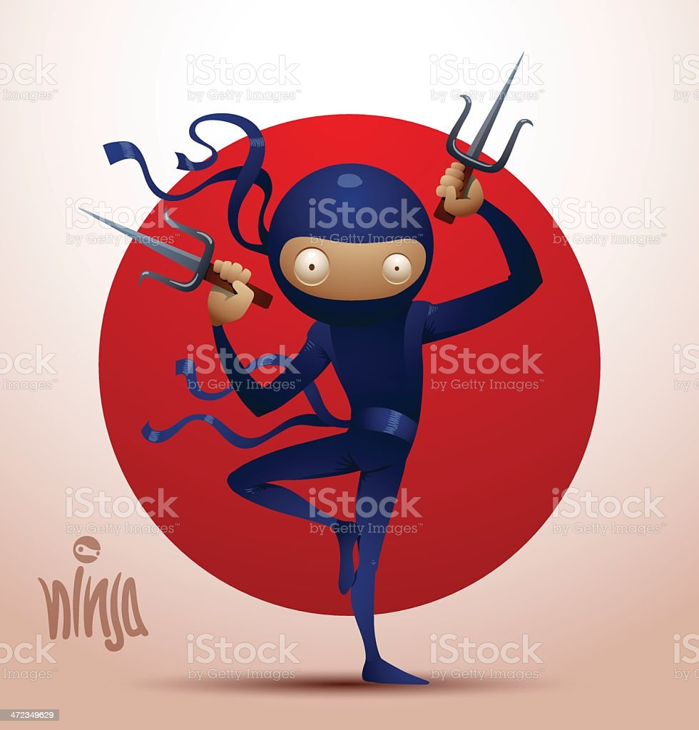 Ninja warrior with daggers sai royalty-free stock vector art