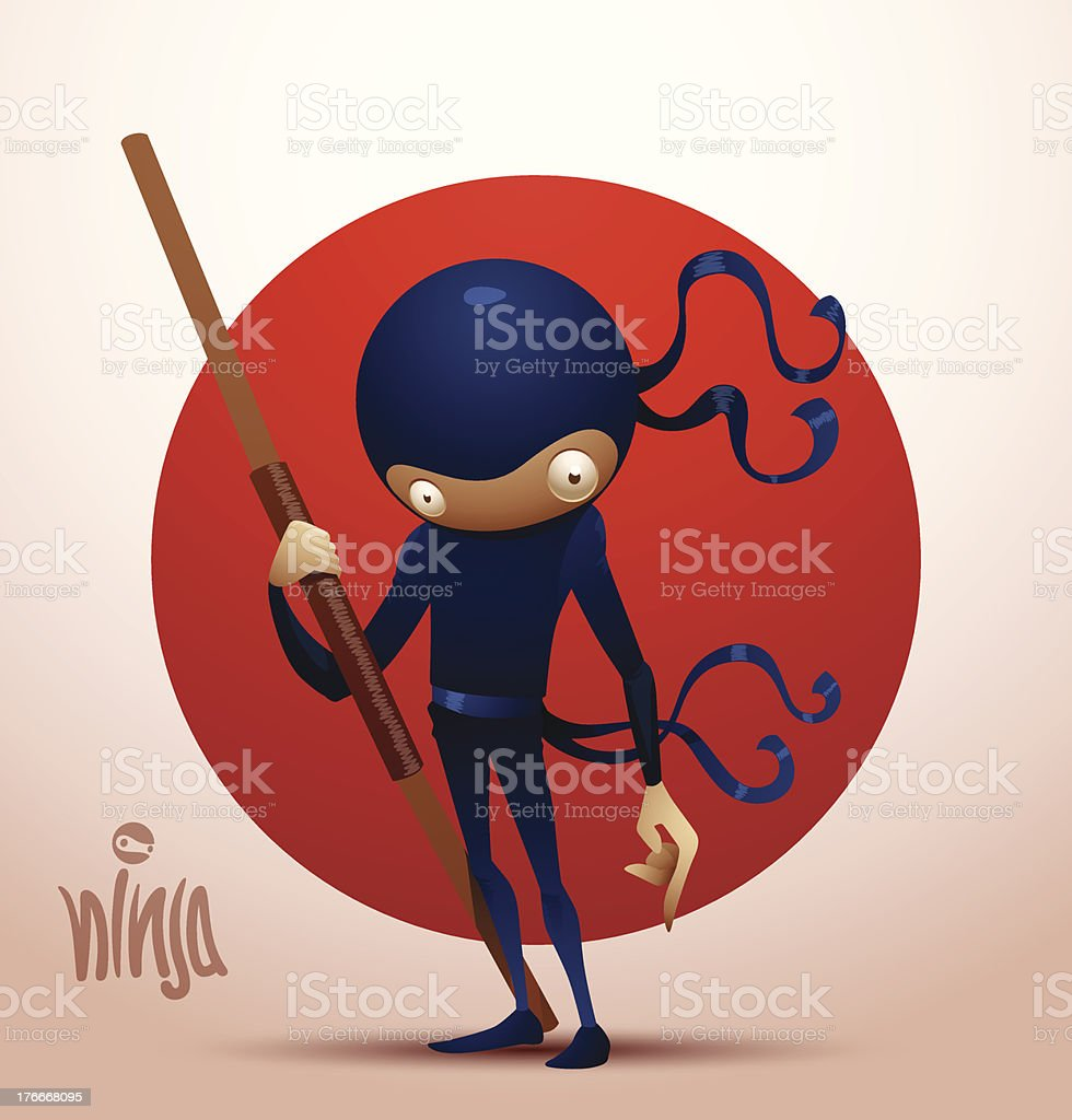 Ninja warrior with stave royalty-free stock vector art