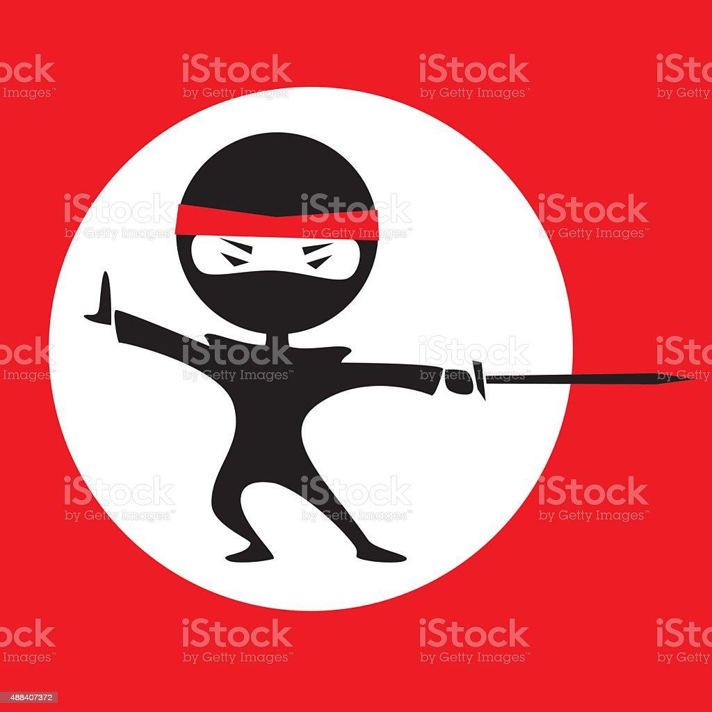 Ninja white circle vector art illustration
