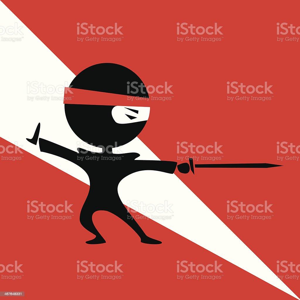 ninja with a sword vector art illustration