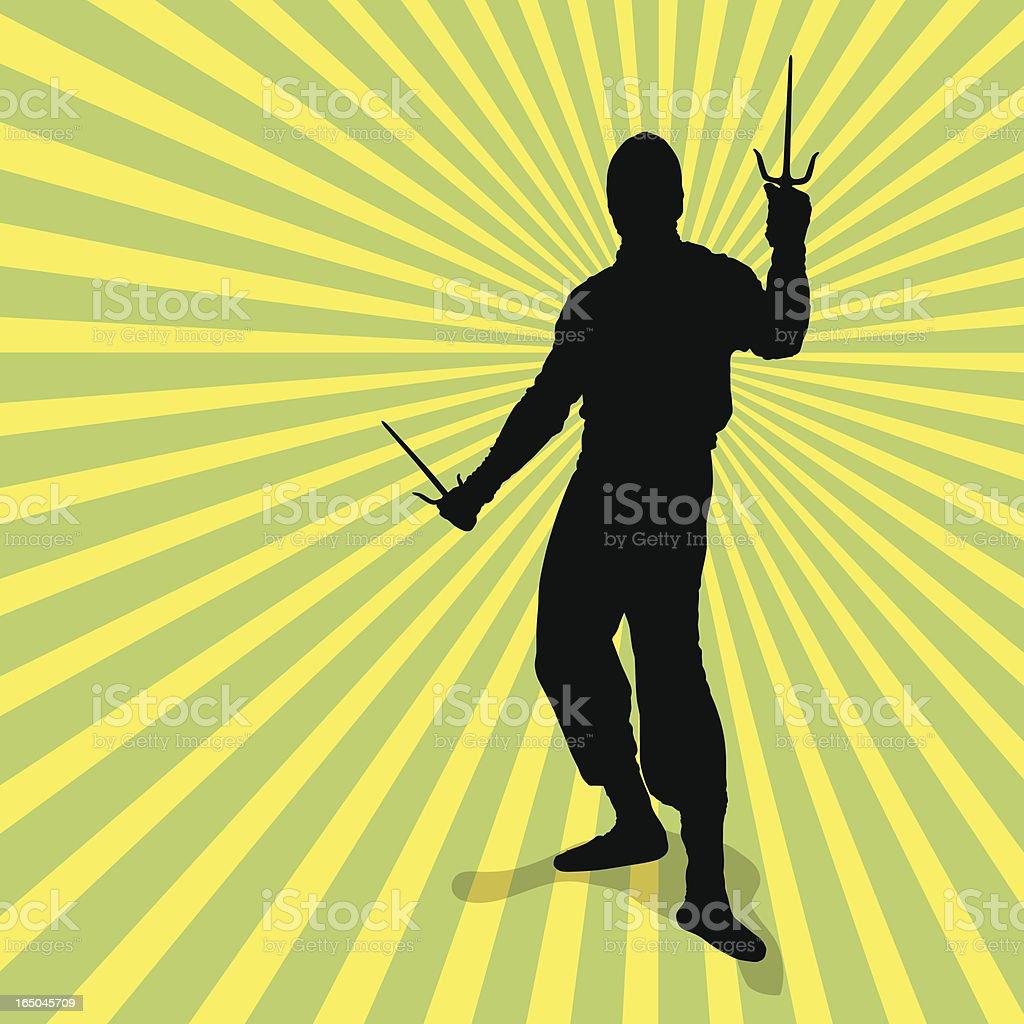 Ninja with Sai Silhouette royalty-free stock vector art