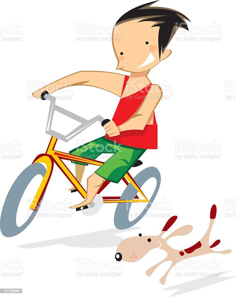 niño en bicicleta con perro vector art illustration