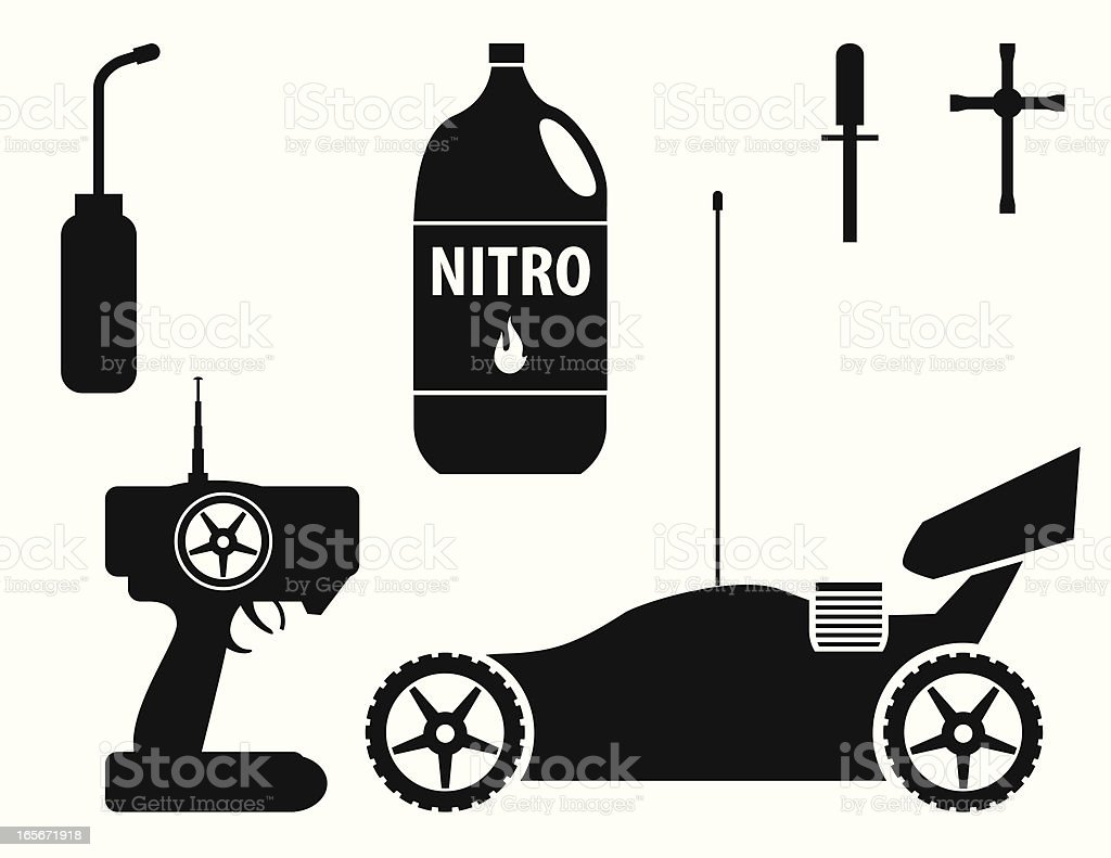 RC Nitro Buggy with Accessories royalty-free stock vector art