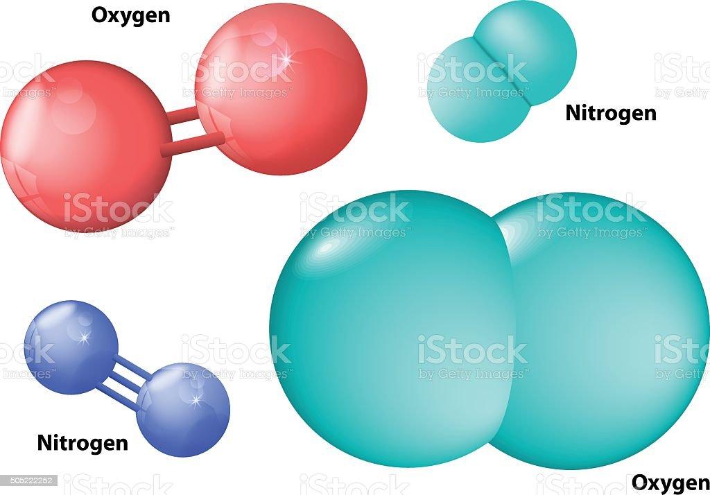 nitrogen and oxygen molecule vector art illustration
