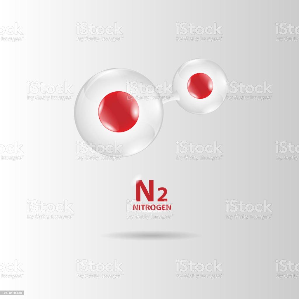 nitrogen molecule model vector vector art illustration