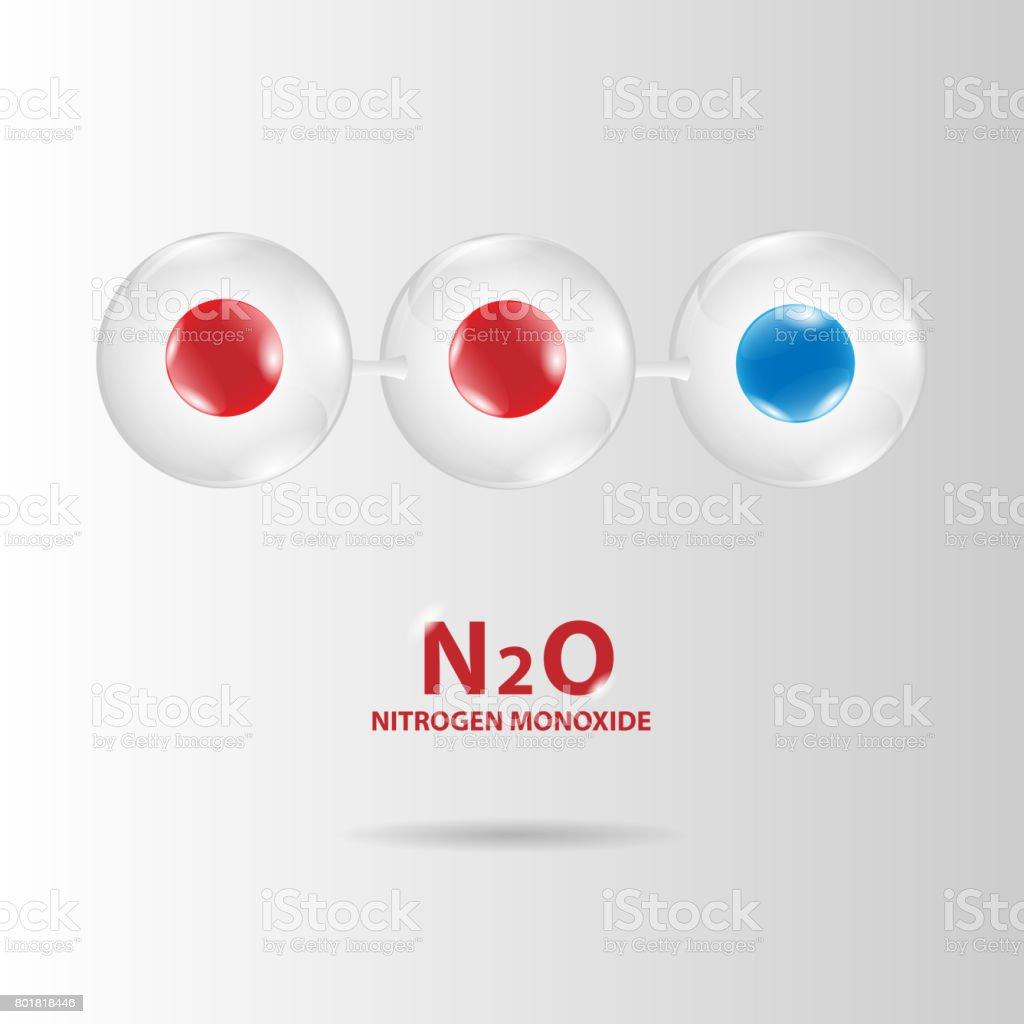 nitrogen monoxide molecule model vector vector art illustration