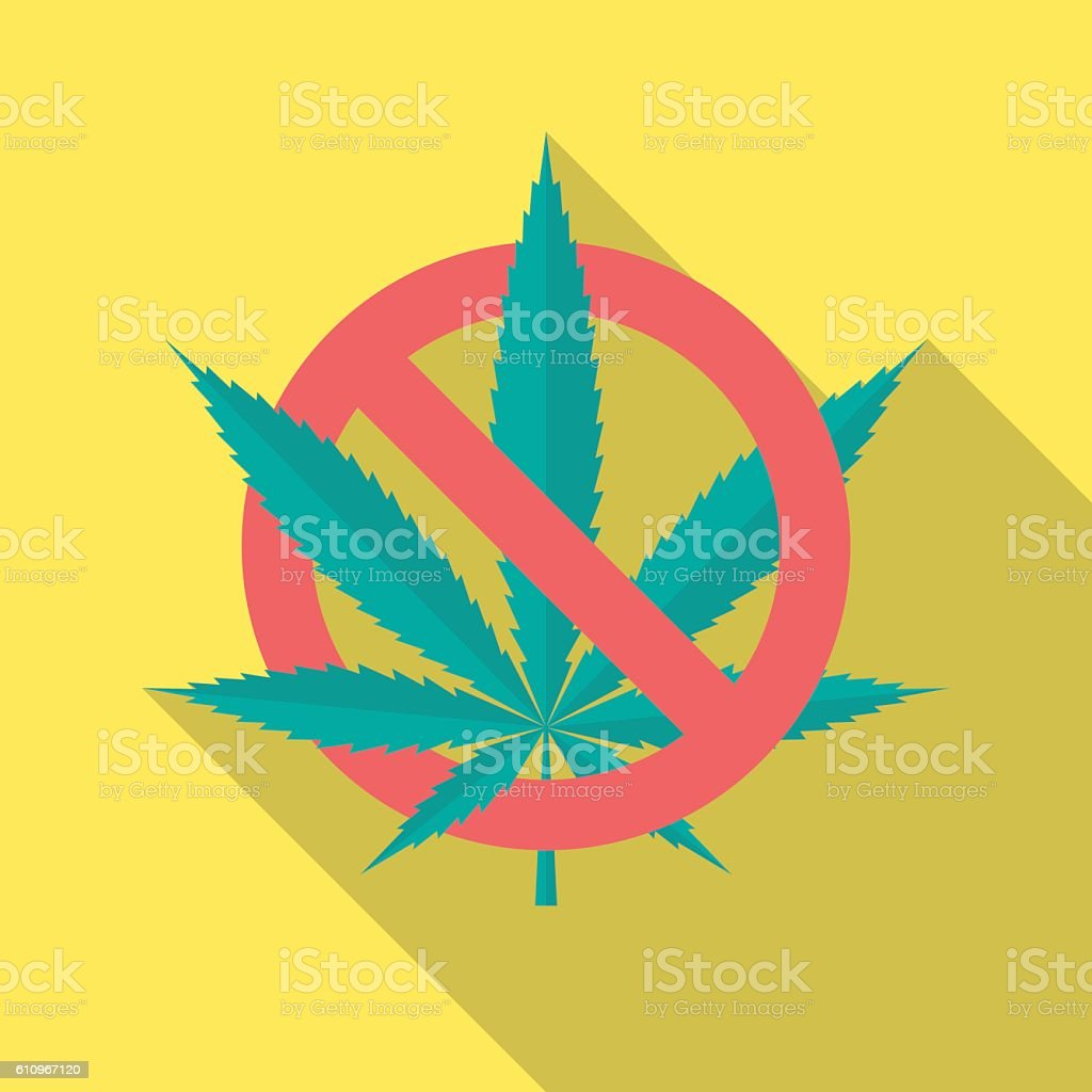No cannabis leaf icon with long shadow. vector art illustration
