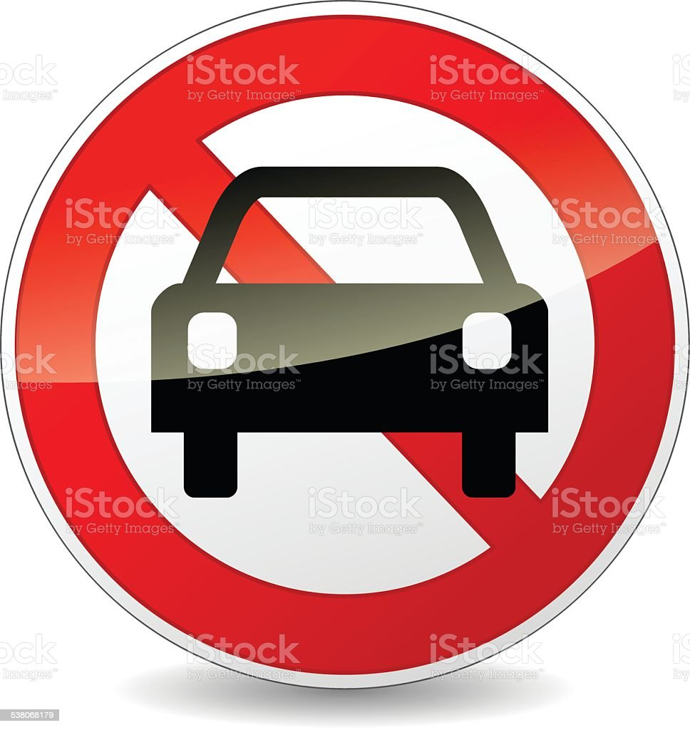 no car sign vector art illustration