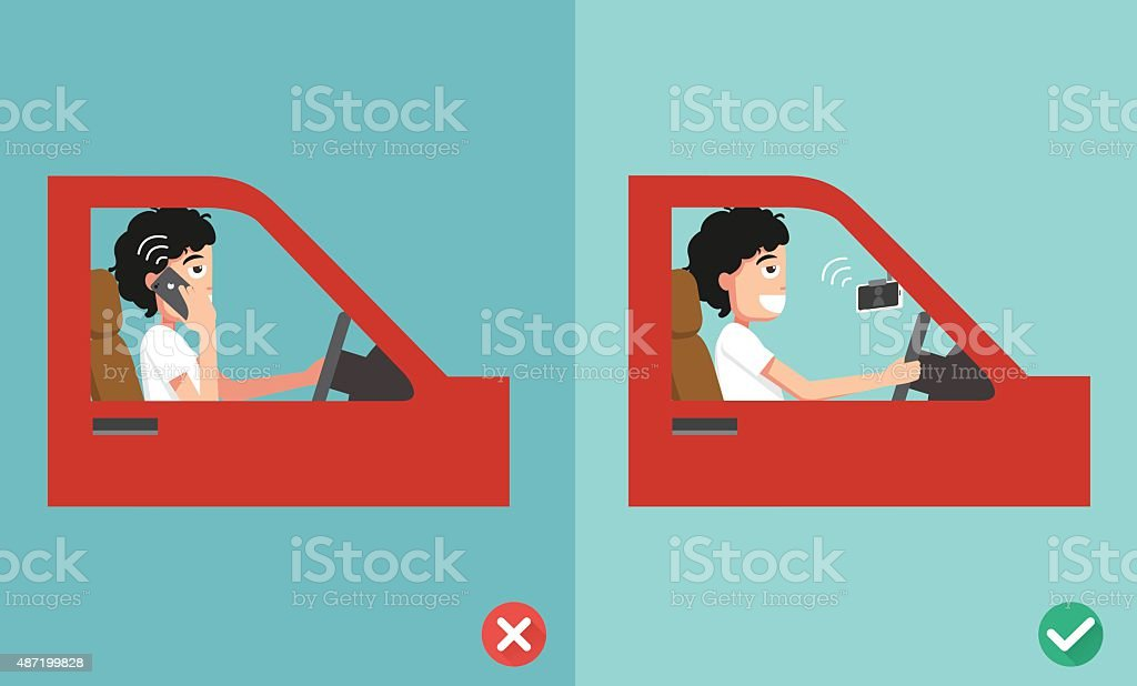 no cell phones - while driving vector art illustration