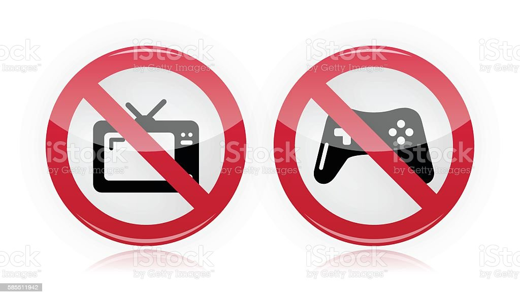 No computer games, no TV warning signs vector art illustration