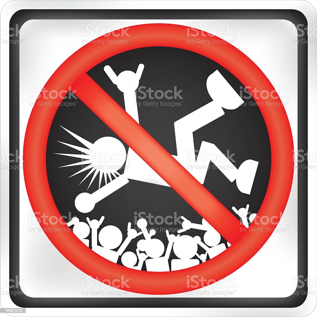 no crowd surfing sign vector art illustration