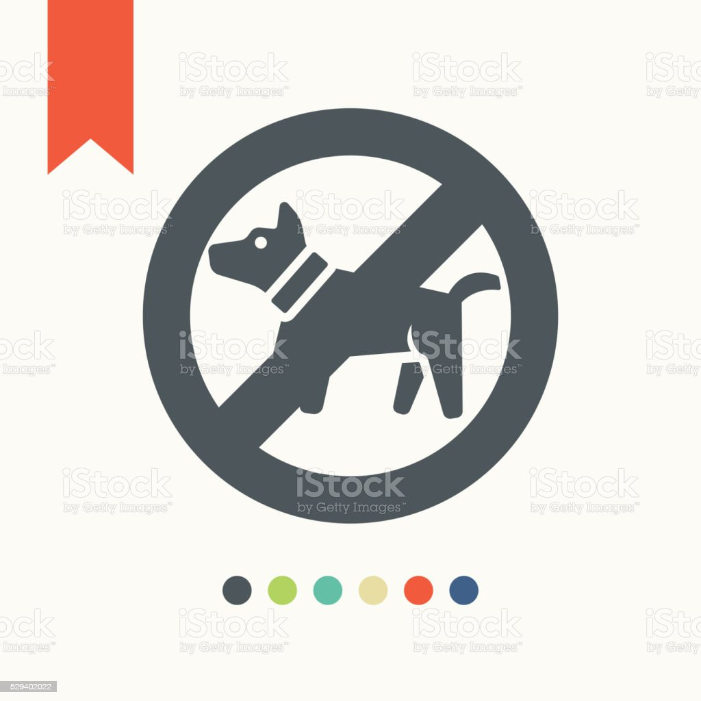 No dog icon. Dog walking fobidden symbol vector art illustration