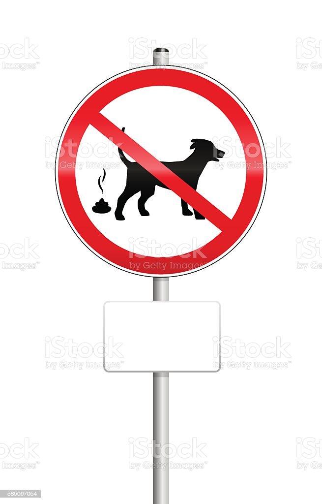 No Dog Pooping Sign vector art illustration