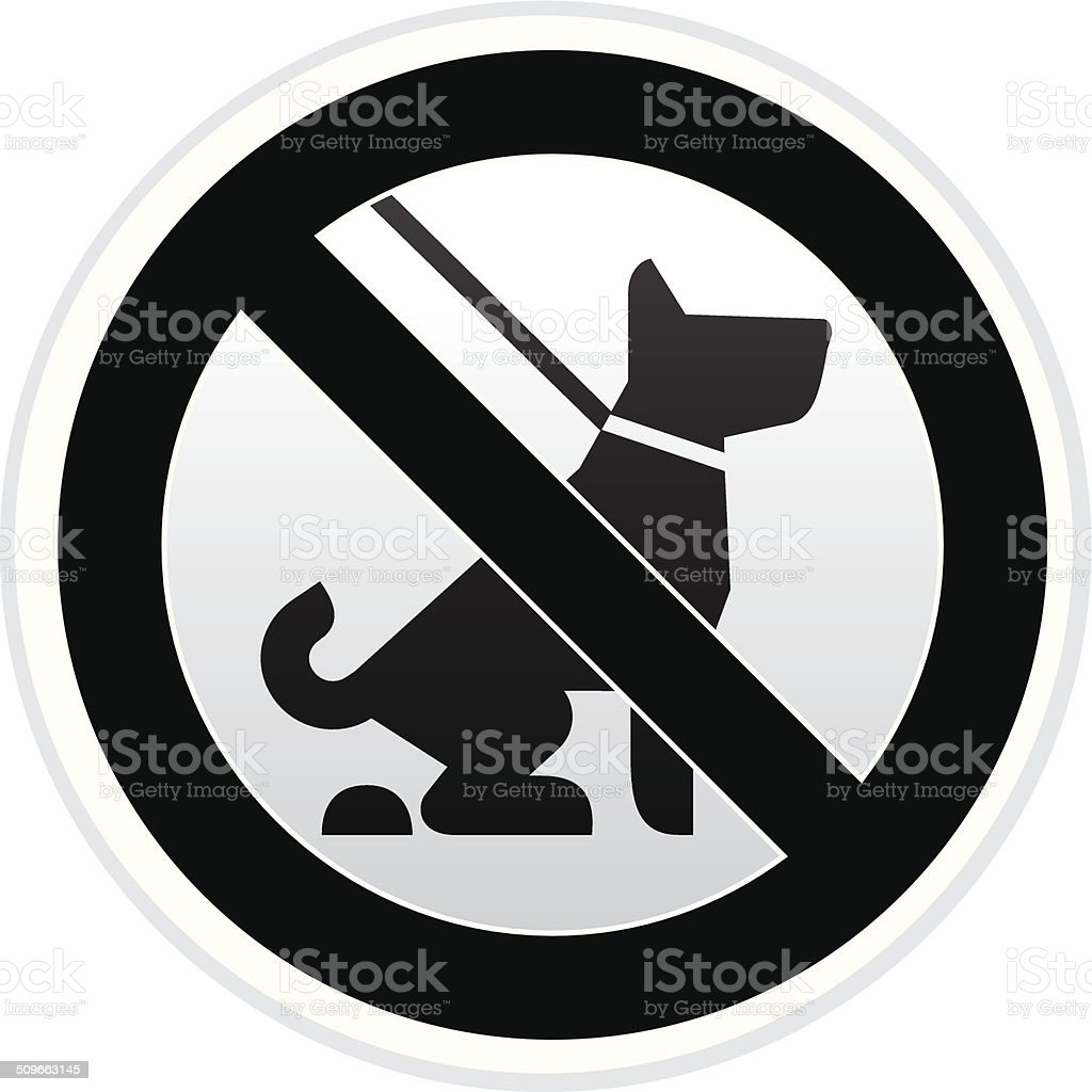 No Dog Pooping Warning sign in Black and White vector art illustration