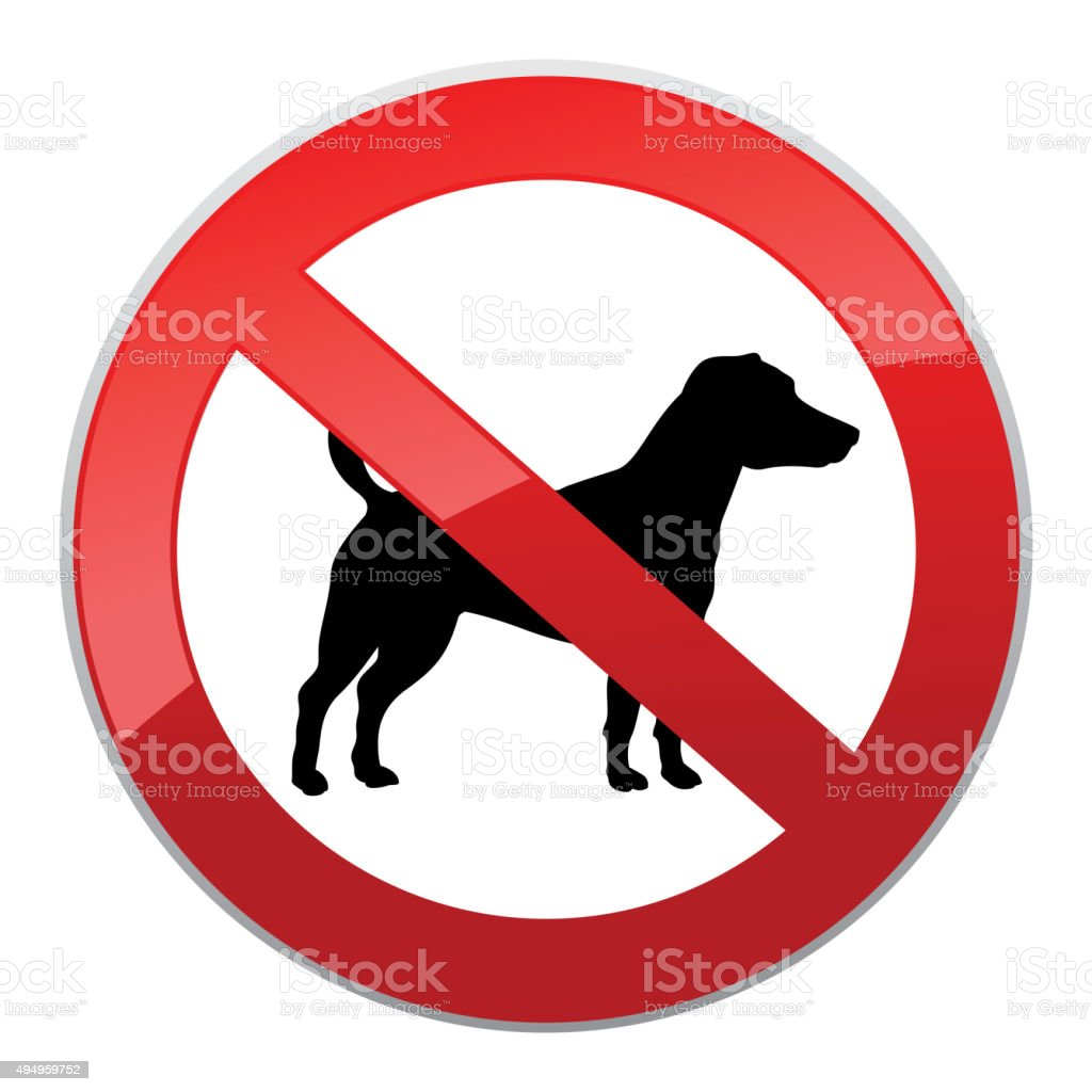No dog sign. Dog walking fobidden symbol. vector art illustration