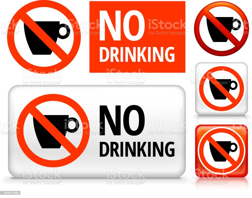 No Drinking Icon on Signs, Buttons, and Banners vector art illustration