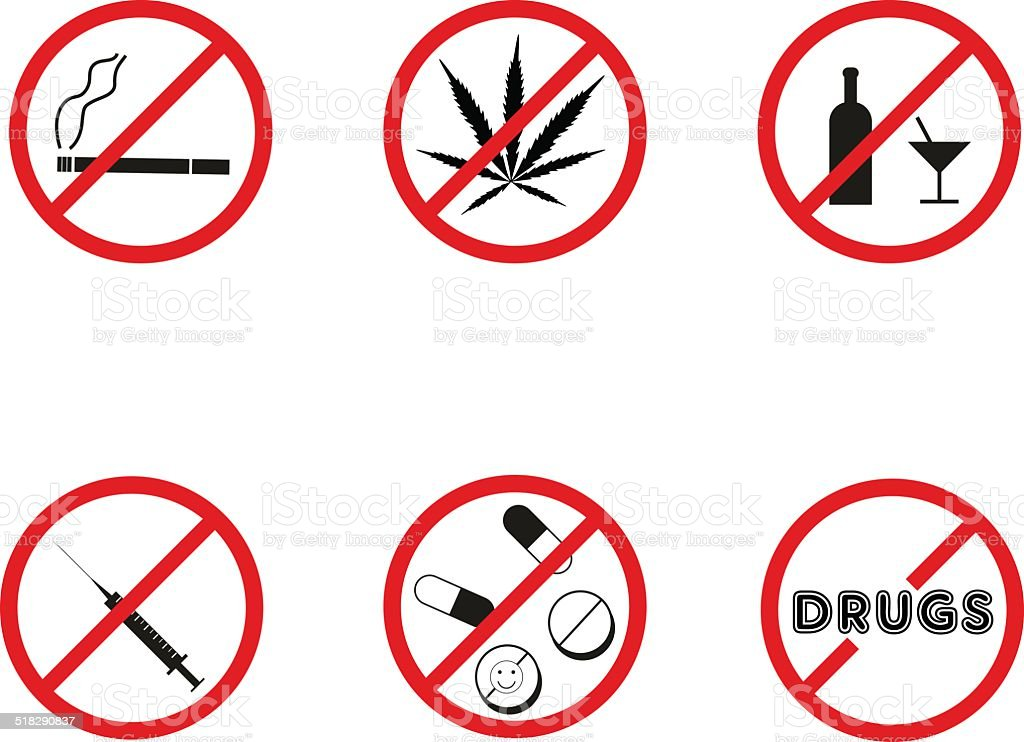 No drugs, no alcohol prohibition signs. Vector. vector art illustration